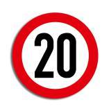 """Déco de salle Panneau de limitation de vitesse """"20 ans"""" 36 cm"""