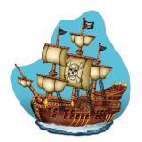 """Déco murale """"Majestueux bâteau pirate"""" 37,5 cm x 36 cm"""