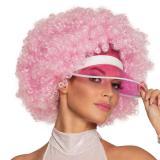 "Perruque rose ""Afro"" avec pare-soleil"