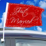 "2 fanions rouges pour voiture ""Just Married"""