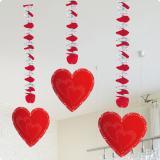 """3 décos à suspendre spirale """"Cœurs rouges"""""""
