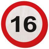 """20 serviettes rondes """"Panneau de limitation de vitesse 16 Ans"""""""