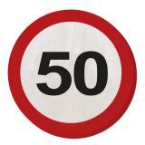 """20 serviettes rondes """"Panneau de limitation de vitesse 50 Ans"""""""