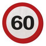 """20 serviettes rondes """"Panneau de limitation de vitesse 60 ans"""" 15,5 cm"""