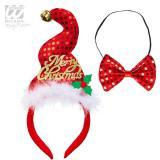 """Serre-tête à paillettes """"Merry Christmas"""" avec nœud-papillon"""