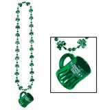 "Collier avec shooter ""Happy St. Patrick's Day"" 4,5 cm"
