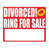 "Déco murale autoadhésive ""DIVORCED! Ring for sale"" 36,5 cm"
