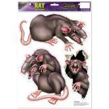"""Déco murale adhésive """"Rats"""" 3 pièces"""