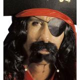 """Moustache autocollante """"Dangereux pirate"""" avec perles"""