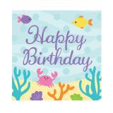 "16 serviettes ""Mademoiselle sirène et ses amis"" Happy Birthday"