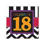 """16 serviettes """"18 ans - Zigzag"""""""