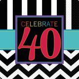 """16 serviettes """"40 ans - Zigzag"""""""