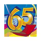 """20 mini-serviettes """"65 ans - Party"""""""