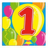 "20 Serviettes Ballons Happy Birthday ""1 an"""