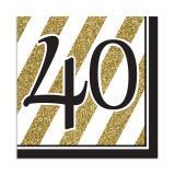 "16 serviettes ""Black & Gold 40"""