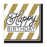 "16 serviettes ""Black & Gold Happy Birthday"""