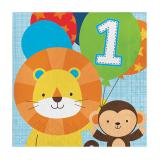 "16 Serviettes ""Jungle Boys 1. Anniversaire"""