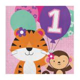 "16 serviettes ""Jungle Girl 1. anniversaire"""