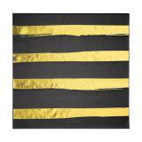 """16 Serviettes """"Rayures dorées"""" noires"""