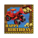 "16 serviettes Happy Birthday ""Les engins de chantier"""