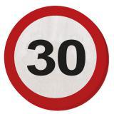 """20 serviettes rondes """"Panneau de limitation de vitesse 30 ans"""" 15,5 cm"""