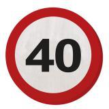 """20 serviettes rondes """"Panneau de limitation de vitesse 40 ans"""" 15,5 cm"""
