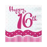 "18 serviettes ""Pretty Pink"" Happy 16th!"