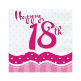 "18 serviettes ""Pretty Pink"" Happy 18th!"