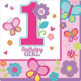"""16 serviettes """"1 an - papillon"""""""