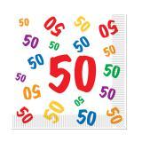 "16 serviettes ""50 multicolores"""