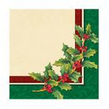 "16 serviettes ""Houx de Noël"""