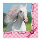 "16 serviettes ""Cheval rose"""