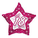 "Ballon étoile en alu Happy Birthday ""Pretty Pink 18"" 45 cm"