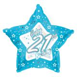 "Ballon-étoile en alu Happy Birthday ""Pretty Blue 21"" 45 cm"