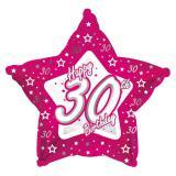 """Ballon en alu en étoile """"Pretty Pink"""" Happy 30th! 45 cm"""