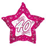 "Ballon-étoile en alu Happy Birthday ""Pretty Pink 40"" 45 cm"