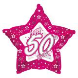 "Ballon étoile en alu Happy Birthday ""Pretty Pink 50"" 45 cm"