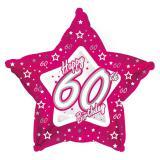 """Ballon en alu en étoile """"Pretty Pink"""" Happy 60th! 45 cm"""