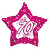 """Ballon en alu en forme d'étoile Happy Birthday """"Pretty Pink 70"""" 45 cm"""