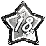 "Ballon en alu étoile ""Happy Birthday Stars 18"" 45 cm"
