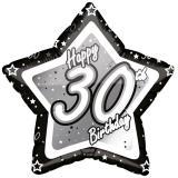 "Ballon étoile en alu ""Happy Birthday Stars 30"" 45 cm"