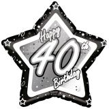 "Ballon étoile en alu ""Happy Birthday Stars 40"" 45 cm"
