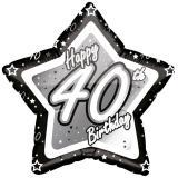 "Ballon étoile en alu ""Happy Birthday Stars 40"" 45 cm"