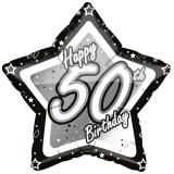 "Ballon étoile en alu ""Happy Birthday Stars 50"" 45 cm"
