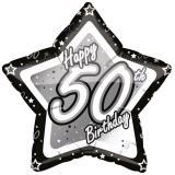 "Ballon étoile en alu ""Happy Birthday Stars 50"" 45 cm"