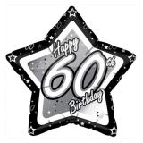 "Ballon étoile en alu ""Happy Birthday Stars 60"" 45 cm"