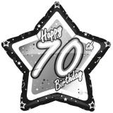 "Ballon étoile en alu ""Happy Birthday Stars 70"" 45 cm"