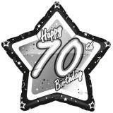 "Ballon étoile en alu ""Happy Birthday Stars 70"" 45 cm"