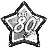 "Ballon étoile en alu ""Happy Birthday Stars 80"" 45 cm"