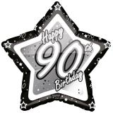 "Ballon étoile en alu ""Happy Birthday Stars 90"" 45 cm"